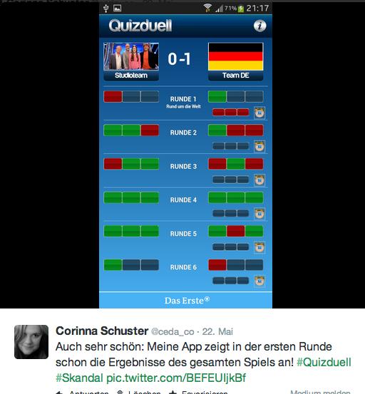 Quizduell-App zeigt Ergebnisse, die es noch gar nicht gibt