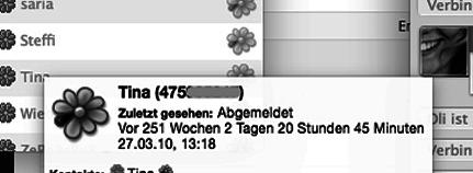 ICQ-Status: Zuletzt gesehen vor 251 Wochen.